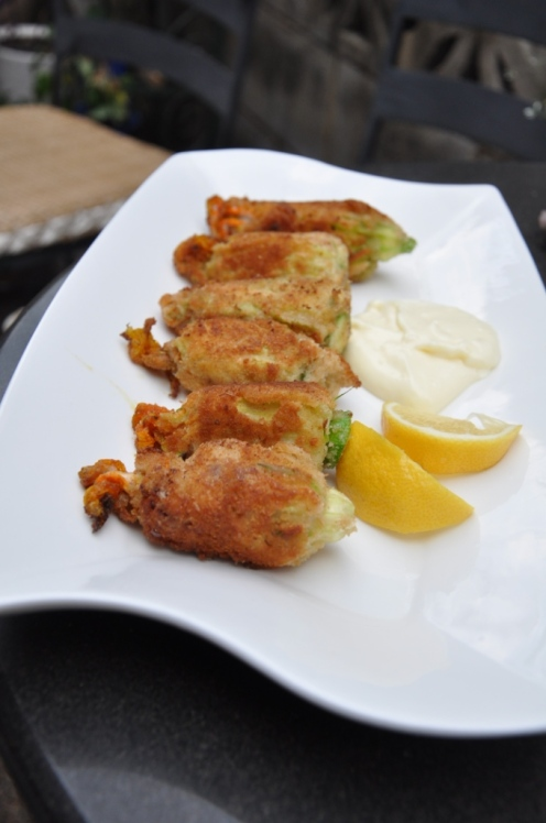Delicious stuffed zucchini flowers