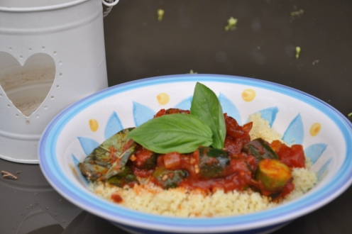 A lovely zucchini ratatouille like dish I made with cuscus