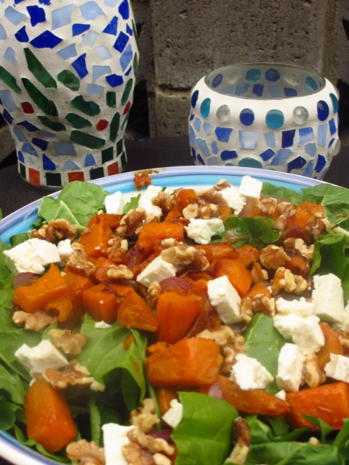 Yummy Spinach, roasted pumpkin, feta and walnut salad!